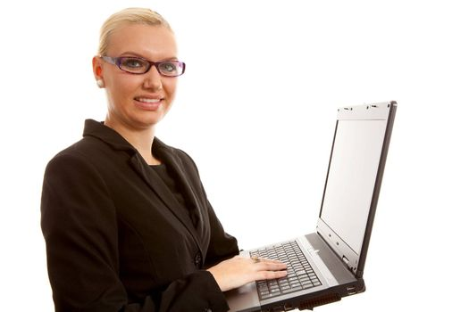 busy blonde secretary with laptop over white background