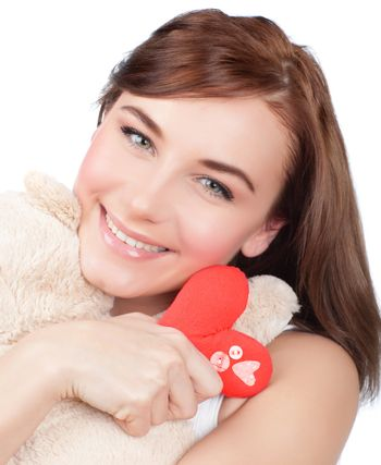 Woman with soft toy