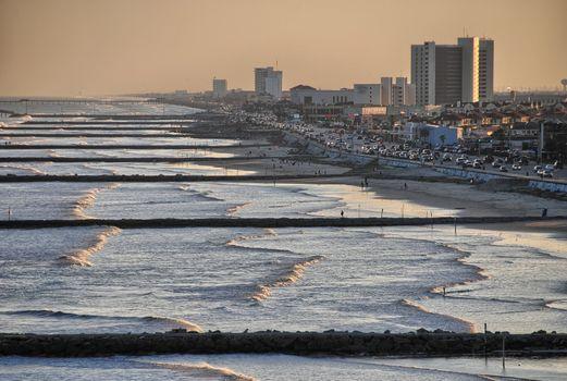 Galveston skyline and beach, Texas