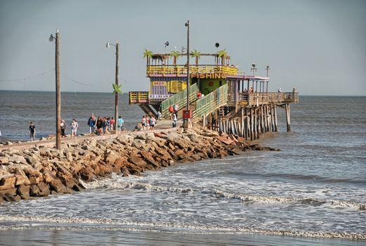 Beach and sea of Galveston, Texas