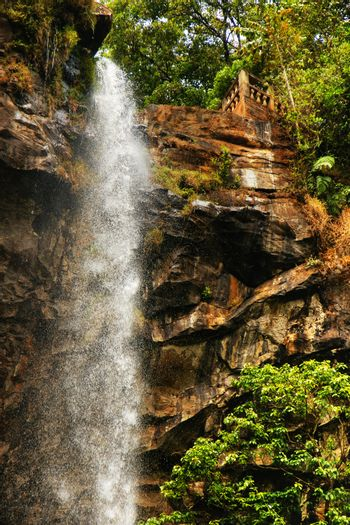 Sacred waterfall of tropical forest