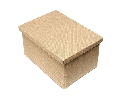 large box wrapped by burlap canvas