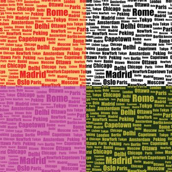 set of seamless patterns with cities names