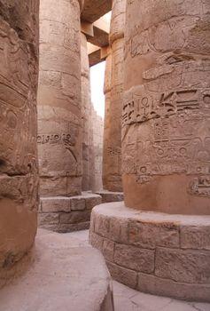 Ancient stone columns in Karnak