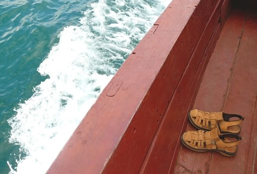 Sandals on boat