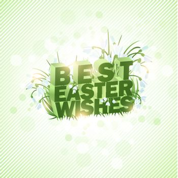 Best Easter Wishes Background With Greetings and Snowdrop Flowers