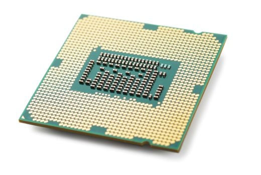 Macro view of processor microchip isolated over white background