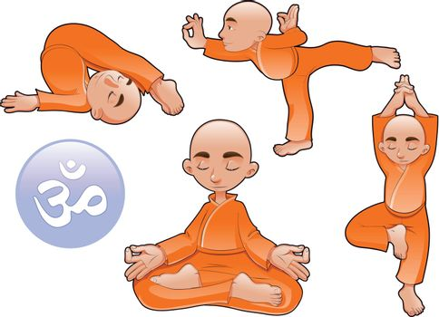Yoga Positions. Funny cartoon and vector isolated elements