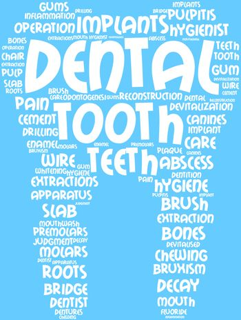 tagcloud tooth-shaped, the symbol of dental surgery
