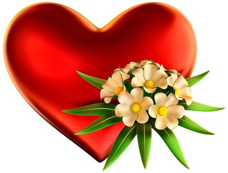 white flowers bouquet with big red heart for celebration of Valentine's Day on white background