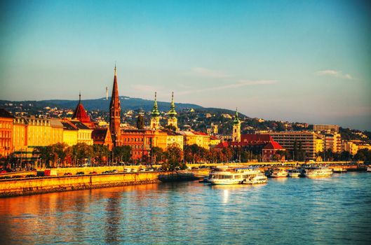 Overview of Budapest as seen from Szechenyi bridge