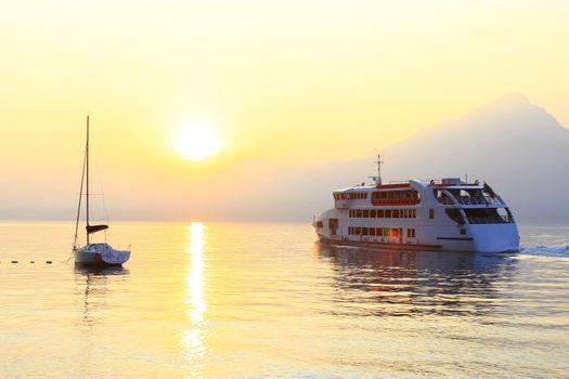 sundown at lake Garda, Italy