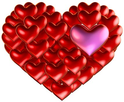 set of red hearts put in heart shape for wedding and Valentine's Day design