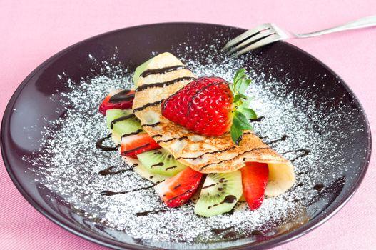 Pancake with fruits