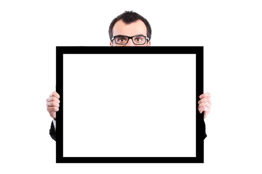 businessman holding panel
