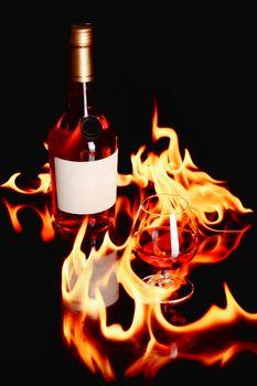 wine brandy in fire