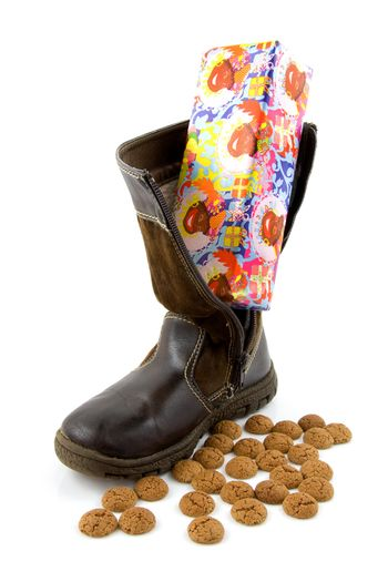 Typical Dutch celebration: Sinterklaas with shoe and ginger nuts