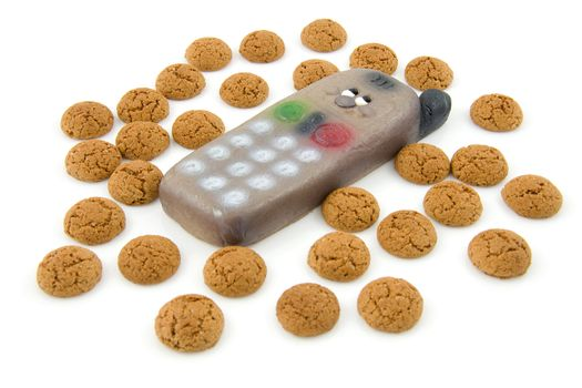 pepernoten (ginger nuts) sweets and marzipan phone for typical Dutch festivity at 5 december