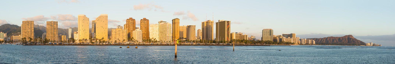 Broad panorama over Waikiki Oahu Hawaii