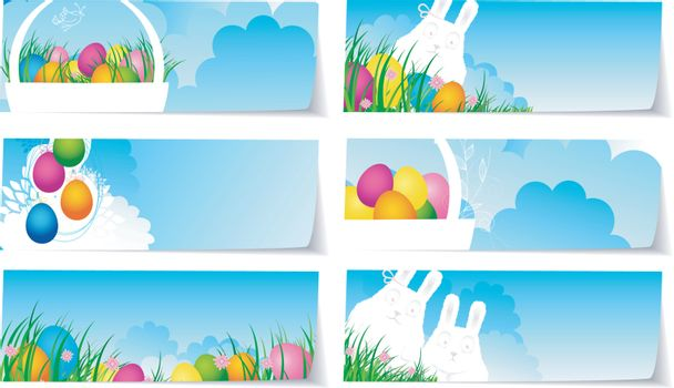 Vector illustration of Stickers set easter