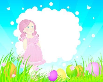 Vector illustration of Easter back with little girl