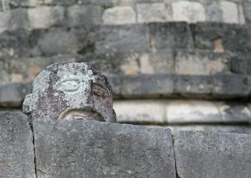 A stone head sculpture found at Chichen Itza (Mayan ruins) in Mexico.
