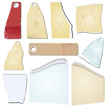 Set of the vector grunge notepad scrap memo paper
