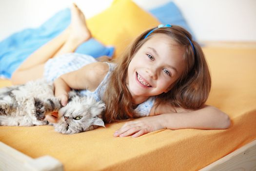 Kid girl with her pet