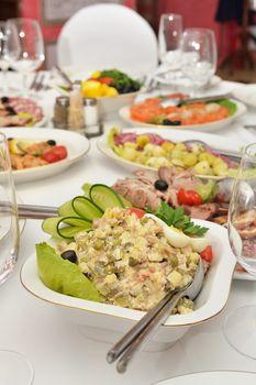 Salad on served table
