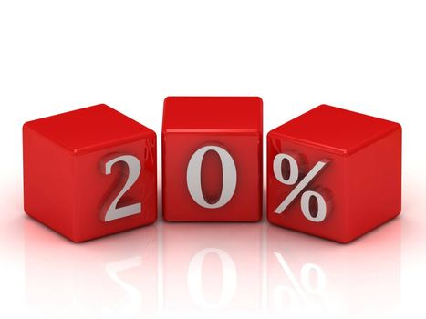 3D rendering of a 20 percent on red cubes on a white background