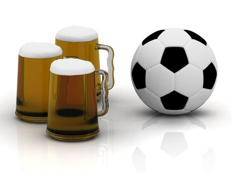 Three cups of tasty dark beer with foam, and a soccer ball