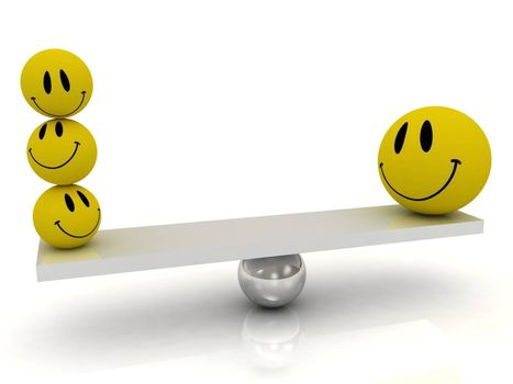 Balance funny yellow smilies on a white background