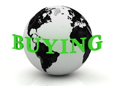 BUYING abstraction inscription around earth on a white background