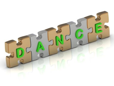 DANCE word of gold puzzle and silver puzzle on a white background