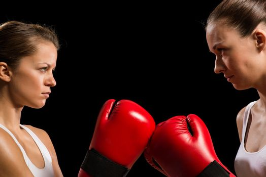 confrontation between the two women boxers