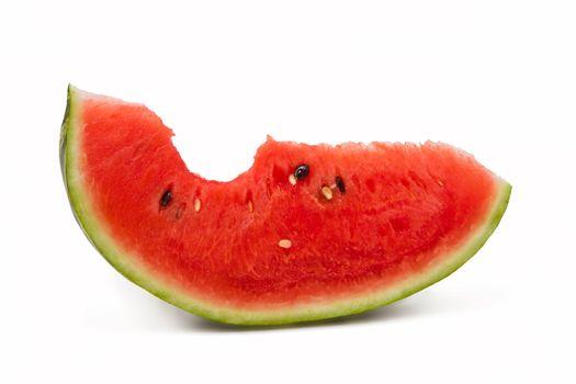 Bitten watermelon portion