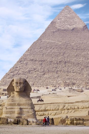 Egyptian Sphinx with pyramid