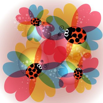 Colorful transparency flowers and ladybug