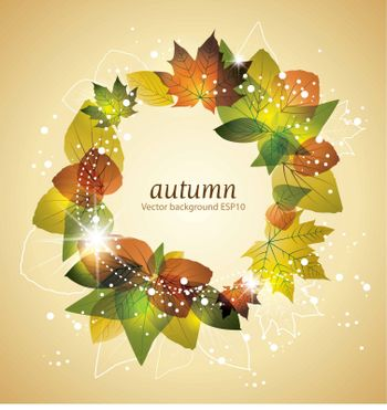 Autumn leaves background with space for text