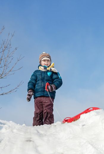 Boy standing with red plastic sleigh on a snowy hill in sunny winter day