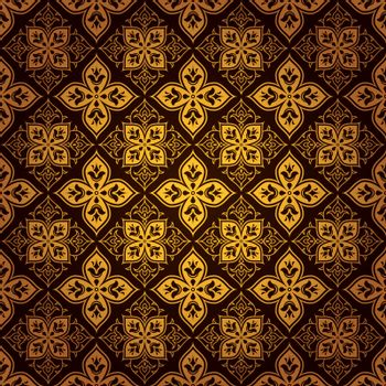 A vintage style vector swirl tile pattern background in gold color and dark brown, eps8