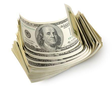 Bundle of dollars isolated