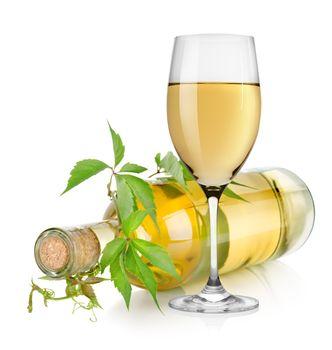 White wine glass and vine