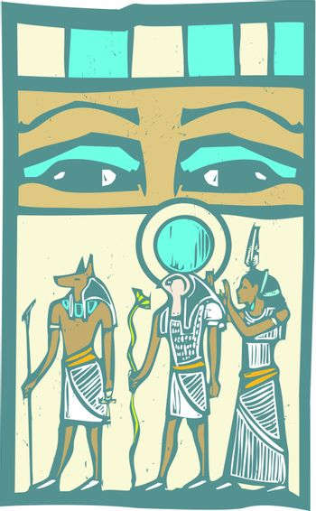 Anubis and Horus the Pharaoh's eyes Egyptian hieroglyph in woodcut style.