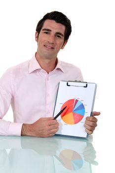 Salesman showing graph of earnings