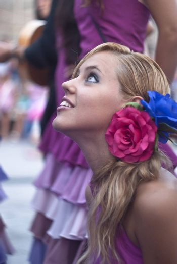 """POLIZZI GENEROSA, SICILY-AUGUST 19:Beautiful Woman of Spain folk group at the International """"Festival of hazelnuts"""",dance and parade through the city:August 19, 2012 in Polizzi Generosa,Sicily, Italy"""