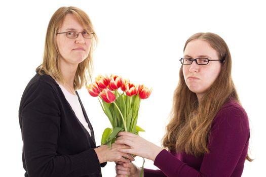 Women quarreling over tulips