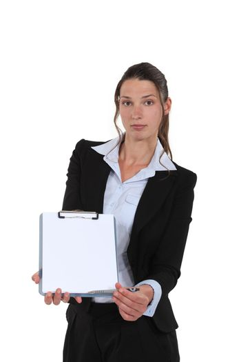 good-looking businesswoman holding clipboard
