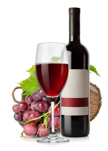 Wine and grape in basket