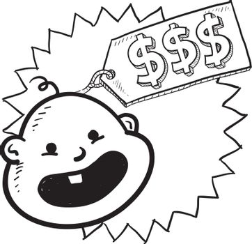 Doodle style babies are expensive illustration in vector format. Includes caricature of infant with a price tag and dollar signs.